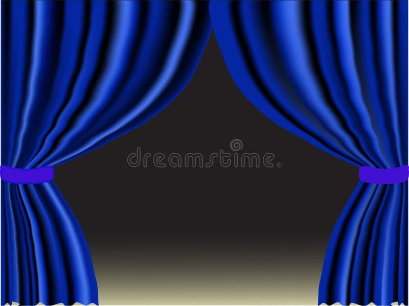 Rideau bleu illustration stock