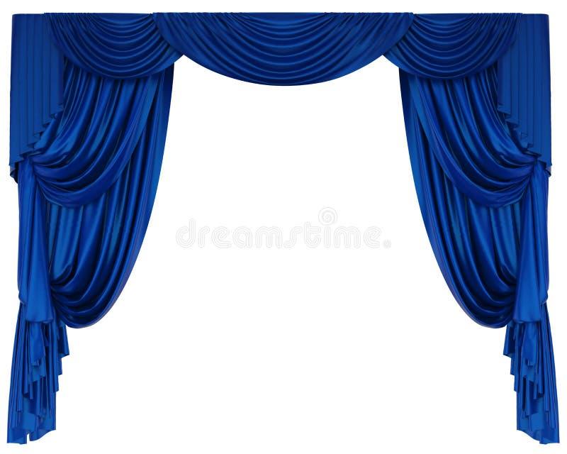 Rideau bleu en théâtre d'isolement illustration stock