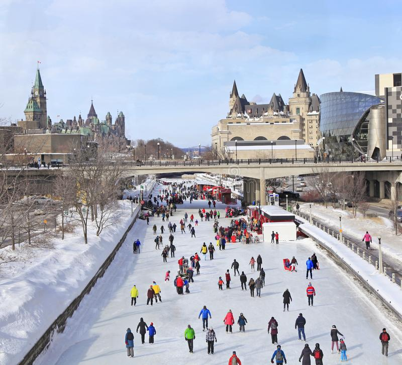 Rideau Canal Ice Skating Rink in winter, Ottawa royalty free stock images