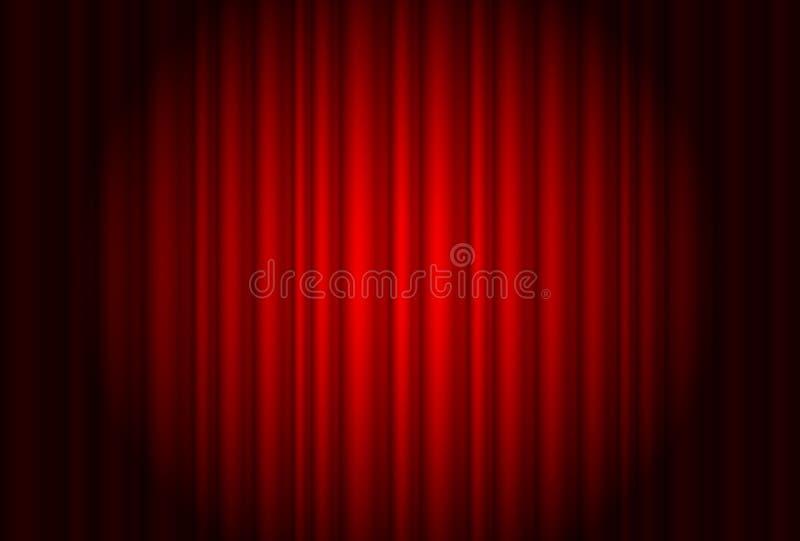 Rideau du théâtre avec un projecteur illustration de vecteur
