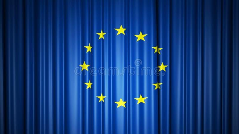 Rideau en soie en drapeau d'UE sur l'?tape illustration 3D illustration libre de droits