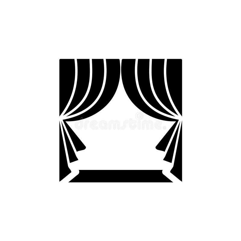 Rideau en tissu avec la draperie Illustration de vecteur Icône plate de s illustration libre de droits