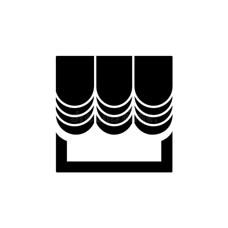 Rideau en tissu avec la draperie Illustration noire et blanche de vecteur illustration stock