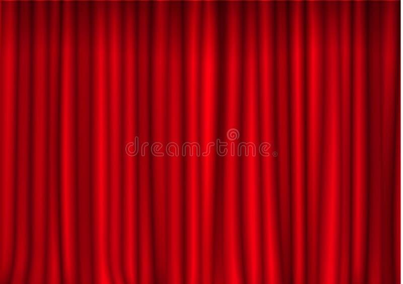 Rideau fermé rouge dans le théâtre Vecteur de rideau en cinéma de tissu de velours Décoration fermée de rideaux drachme illustration libre de droits