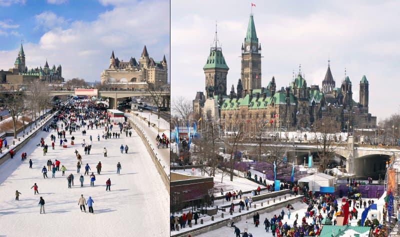Rideau kanał, parlament Kanada w zimie fotografia royalty free