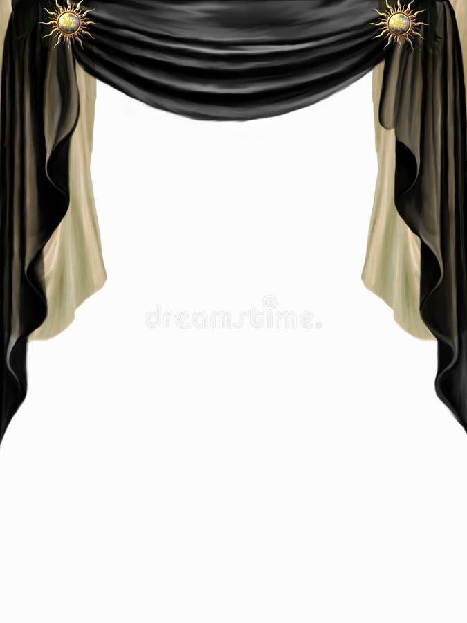 Rideau noir et d'or illustration libre de droits