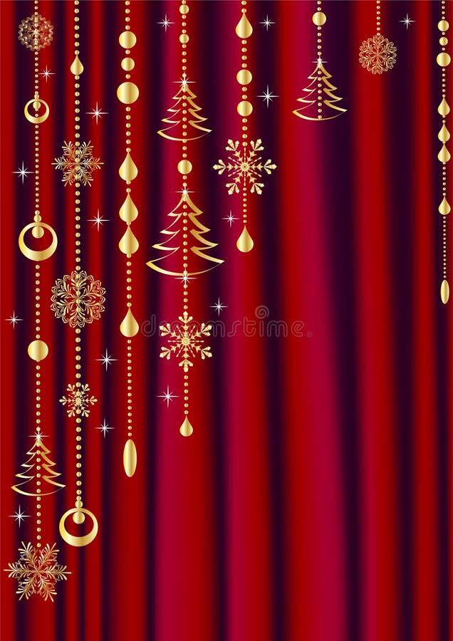 rideau rouge avec la d coration de no l illustration de vecteur illustration du illustration. Black Bedroom Furniture Sets. Home Design Ideas