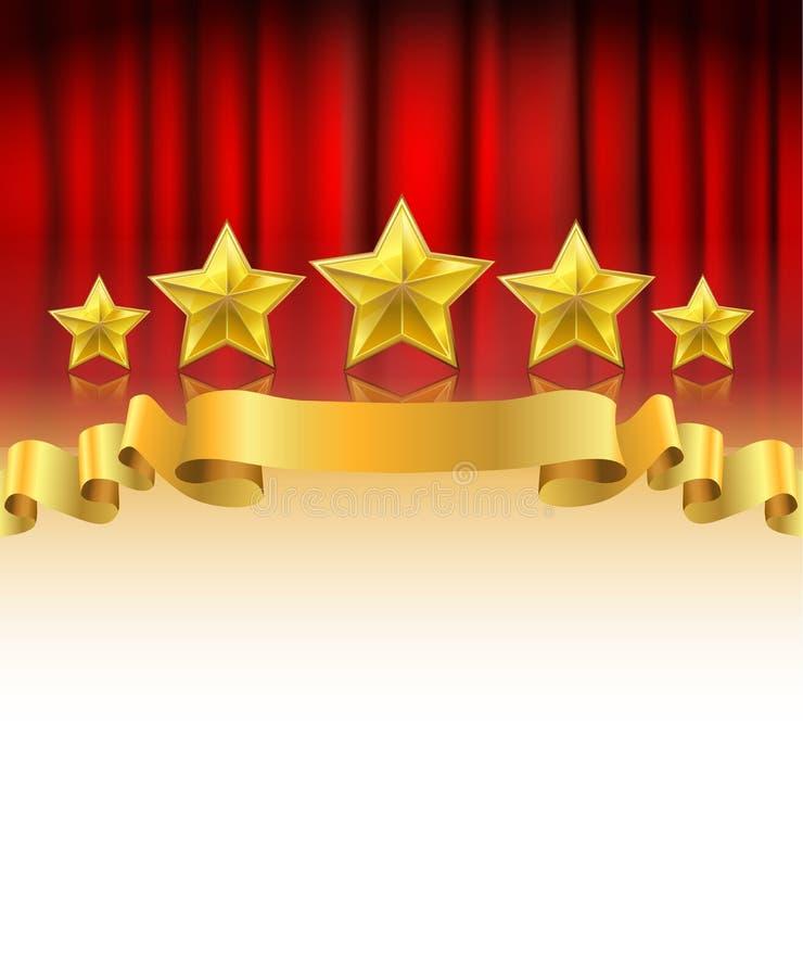 Rideau rouge avec les étoiles d'or illustration stock