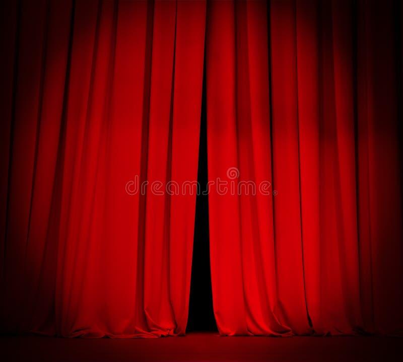 Rideau rouge en étape de théâtre avec le fond de projecteur images libres de droits