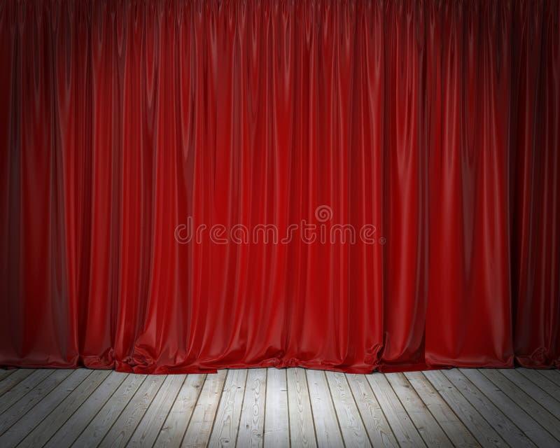 Rideau rouge en étape et plancher en bois, fond photographie stock