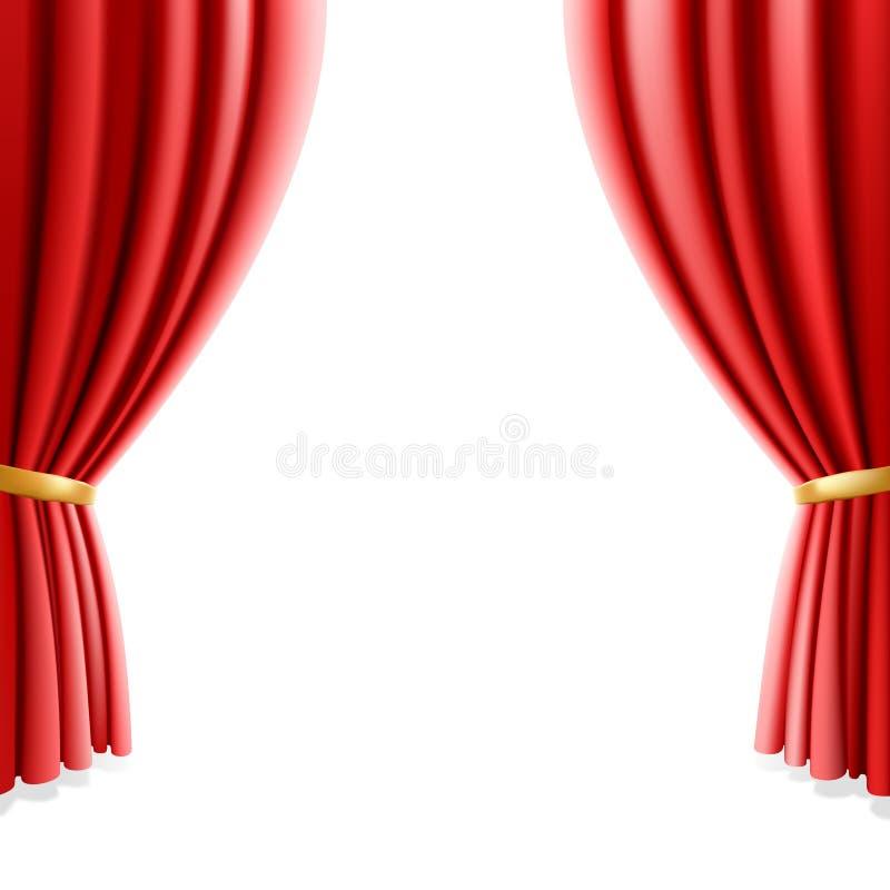Rideau rouge en théâtre sur le fond blanc. Vecteur. illustration stock