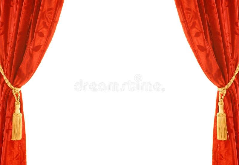 Rideau rouge en velours images libres de droits