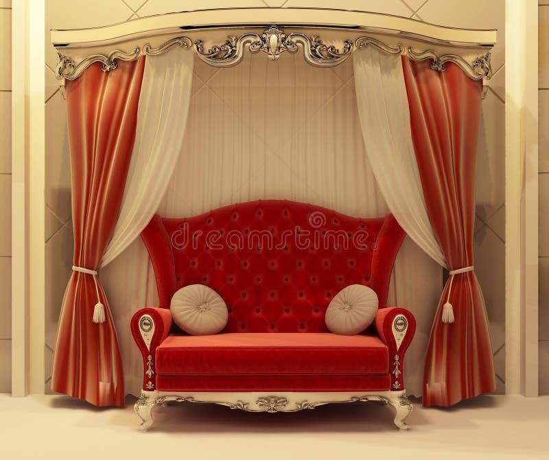 Rideau rouge en velours et sofa royal illustration stock