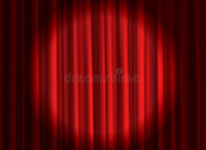 Rideau rouge ferm? Th??tral drape des rideaux en ?tape que le projecteur de film de th??tre de c?r?monie d'ouverture a ferm? le t illustration stock