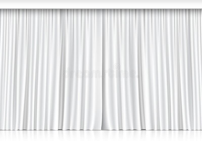Rideaux blancs en vecteur d'isolement sur le fond blanc illustration de vecteur