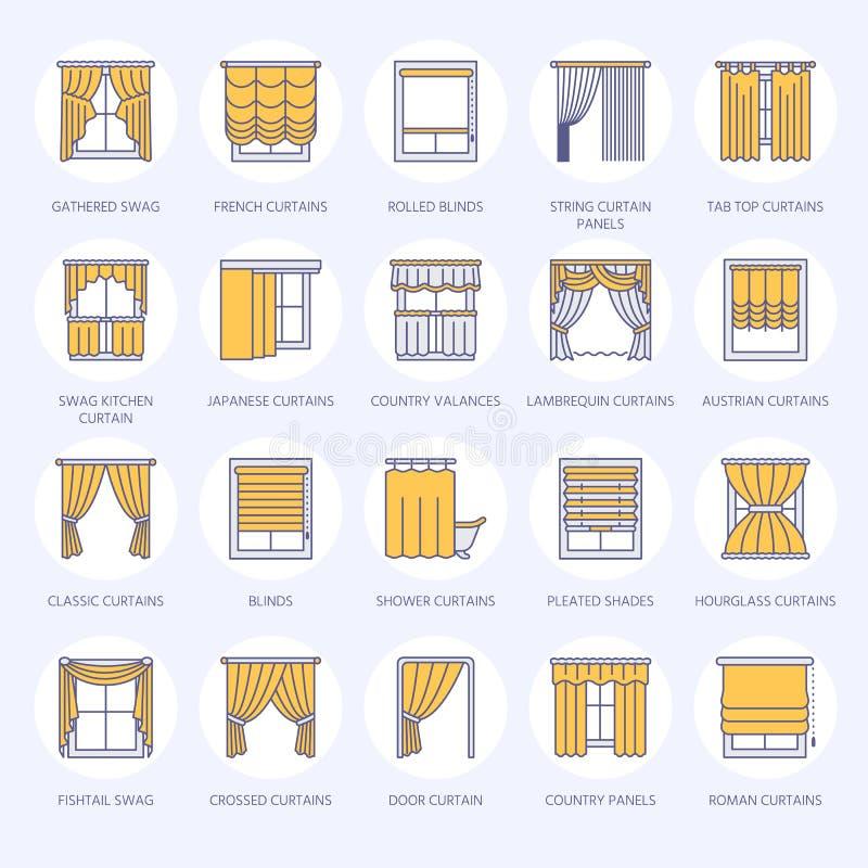 Rideaux en fenêtre, ligne icônes de nuances Décoration de ternissure de diverse pièce, lambrequin, butin, rideau français, abat-j illustration stock