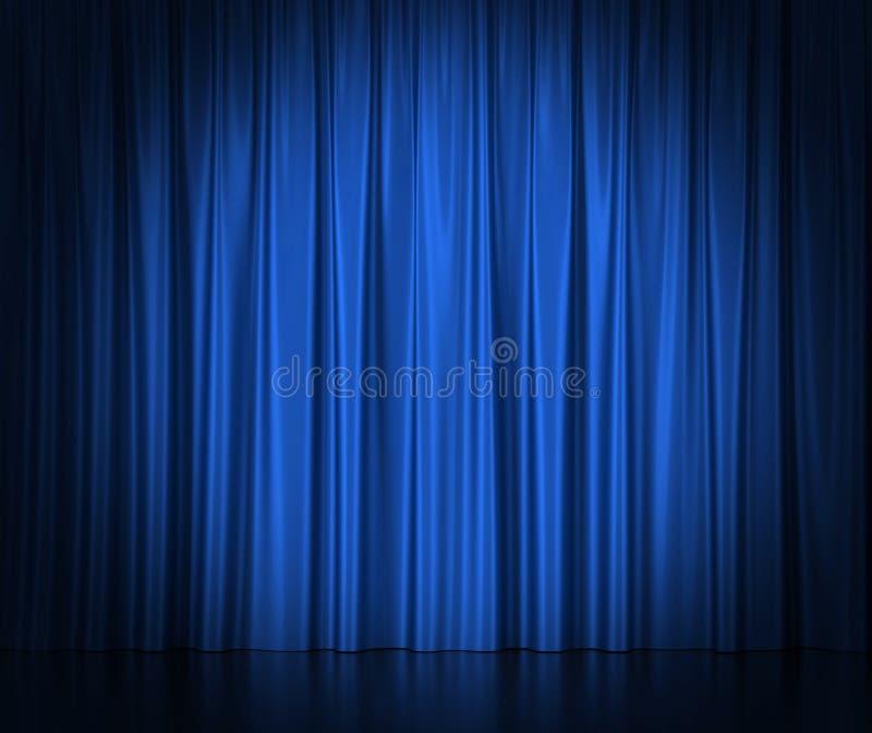Rideaux en soie bleus pour le théâtre et le cinéma éclairés par des projecteurs illustration stock