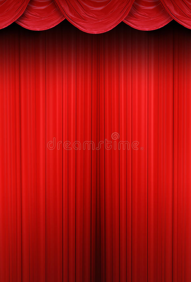 Rideaux en théâtre de tissu rouge photo libre de droits