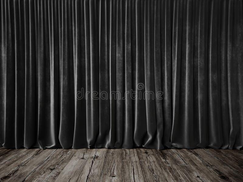 Rideaux gris-foncé et plancher grunge images stock