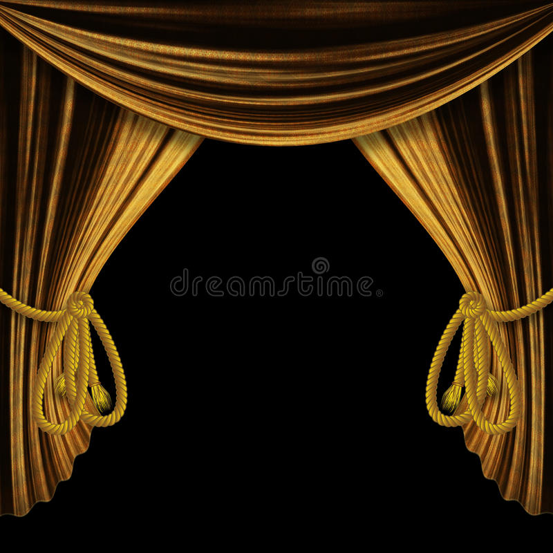 Rideaux ouverts en or sur le fond noir illustration libre de droits