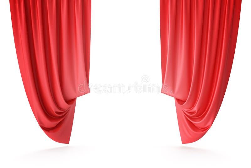 Rideaux rouges en étape de velours, draperie de théâtre d'écarlate Rideaux classiques en soie, rideau rouge en théâtre rendu 3d illustration libre de droits