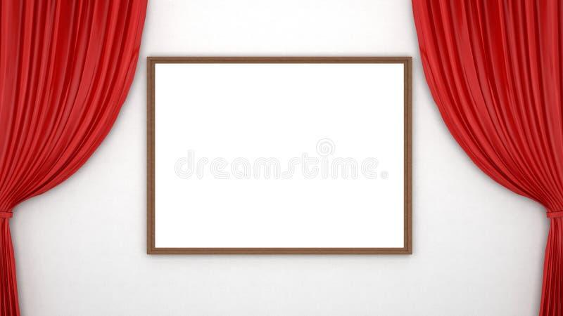 Rideaux rouges et cadre vide illustration de vecteur