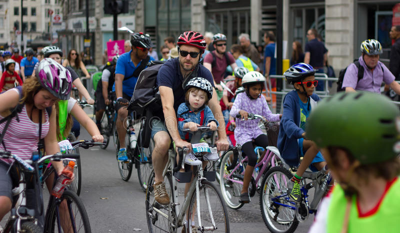 RideLondon Cycling Event - London 2015. Cyclists at 'RideLondon 2015'; a cycling festival with public freeclyling and professional Grand Prix Racing. Central stock images