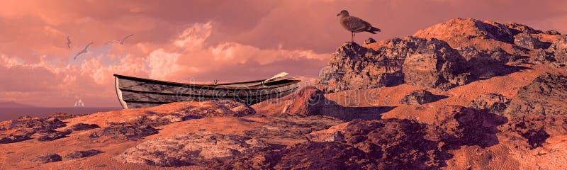 riden ut kustroddbåt stock illustrationer