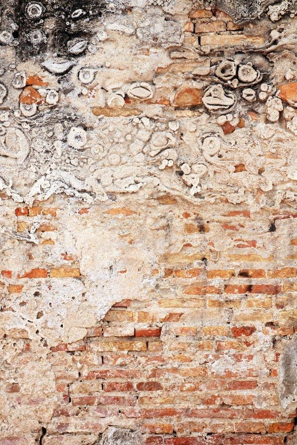 Riden ut vägg för bakgrund som abstrakt begrepp exponerar tegelstenstrukturen royaltyfri bild