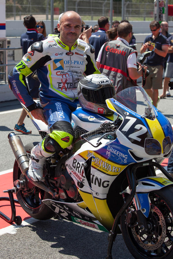 Rider Albert Badia. Team Briefing Endurance. 24 hours OF CATALONIA Motorcycling competition. July, 5, 2014 royalty free stock photos