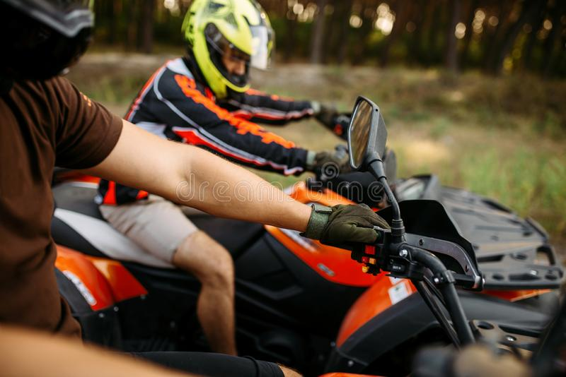 Rider on atv, view through the helmet, quadbike royalty free stock photo