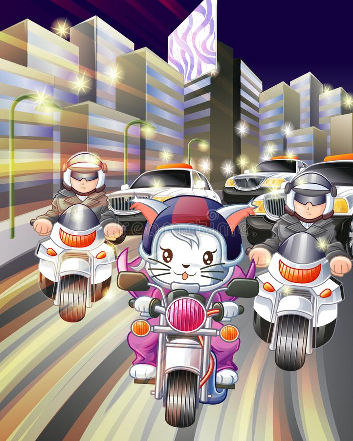 Rider cat and police in city of night. royalty free illustration
