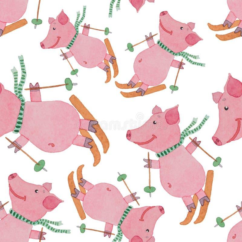 Rider det lyckliga svinet för den sömlösa modellen skidåkning med pinnar i vinterPA stock illustrationer