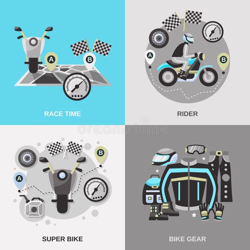 Rider Flat Set royalty free illustration