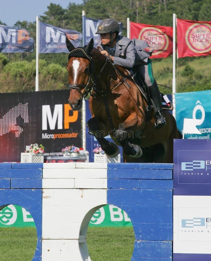 Rider Francesca Capponi (ITA). VIMEIRO, PORTUGAL - JUNE 6: Equestrian International Show Jumping 3* - Francesca Capponi (ITA) June 6, 2010 in Vimeiro, Portugal royalty free stock image
