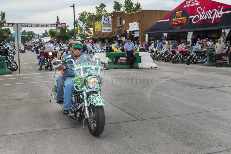 Rider in the main street of the city of Sturgis, in South Dakota, USA, during the annual Sturgis Motorcycle Rally stock images