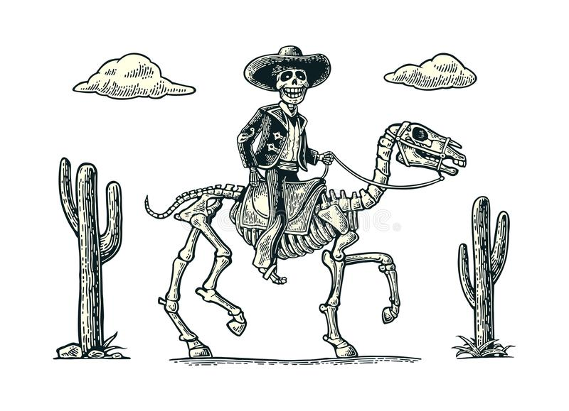 The rider in the Mexican man national costumes galloping on skeleton horse. royalty free illustration