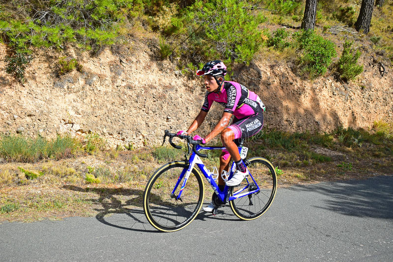 Felipe Osorio Manzana Postobon Team. The rider near to the mountain summit on stage eight Xorret De Cati in the 2017 La Vuelta España bike tour stock photography