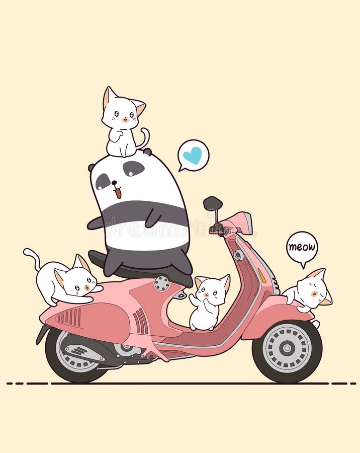 Rider panda and cute cats with pink motorcycle royalty free illustration