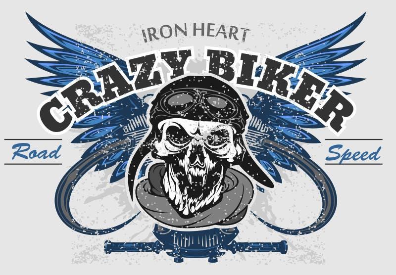 Rider skull with retro racer attributes. Grunge print. Vintage style. Vector art. Rider skull with retro racer attributes. Grunge print. Vintage style. Vector vector illustration