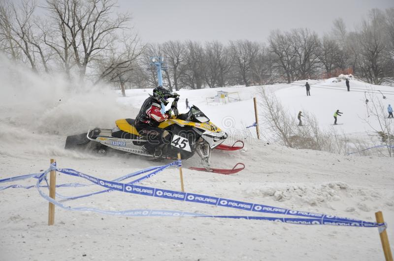 Rider Snowmobile Accelerates From The Sharp Turn Editorial Stock Photo