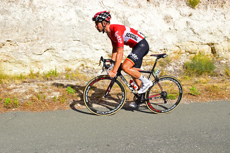 Jens Debusschere Lotto Soudal La Vuelta España. The rider on stage eight Xorret De Cati in the 2017 La Vuelta España bike tour stock image