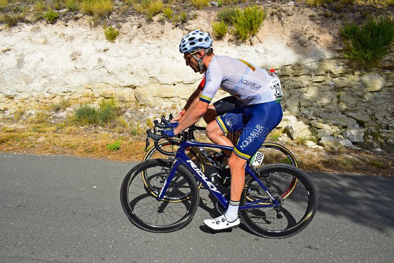 Peter Koning Aqua Blue Sport La Vuelta España. The rider on stage eight Xorret De Cati in the 2017 La Vuelta España bike tour royalty free stock images