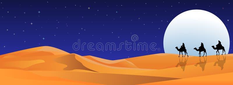 Riders on camels at night in the desert. Riders on camels on the background of the night starry sky. Moonlight night. Sandy desert vector illustration