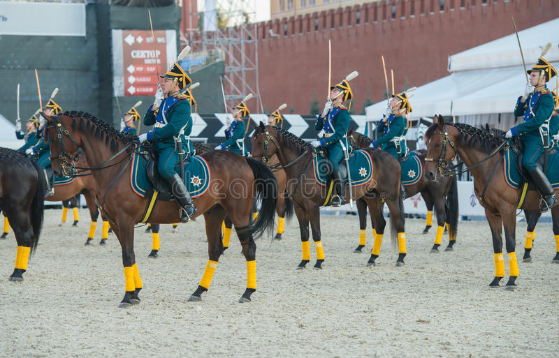 Riders of cavalry honorary escort of Presidential Regiment. MOSCOW, RUSSIA - SEPTEMBER 7. Riders of cavalry honorary escort of Presidential Regiment at Military stock photography