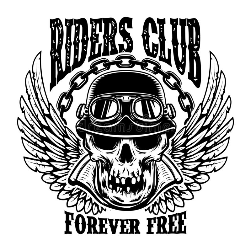 Riders club. Emblem template with biker skull and wings. Design element for poster, card, t shirt vector illustration