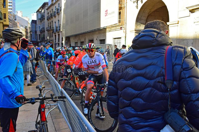 Professional Team Riders In The Streets Of Alicante stock photography