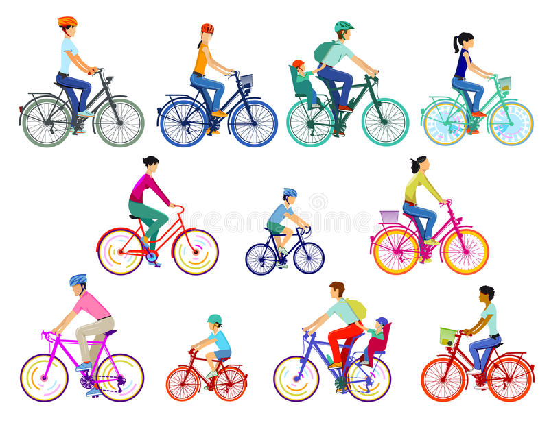 Riders on eleven bikes. Colorful illustration of eleven bikes with men, women and children riding them, two children in baby seats on back of bikes, four bikes stock illustration