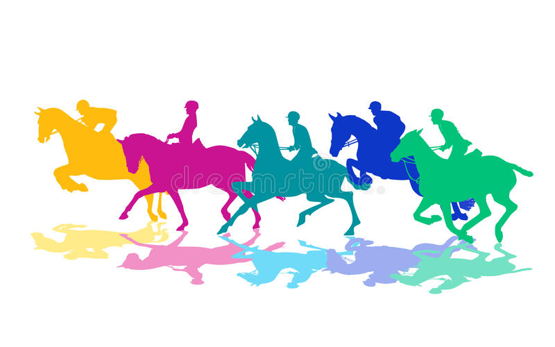 Riders on horses. An illustration of colorful silhouettes of horses and their riders on white background vector illustration