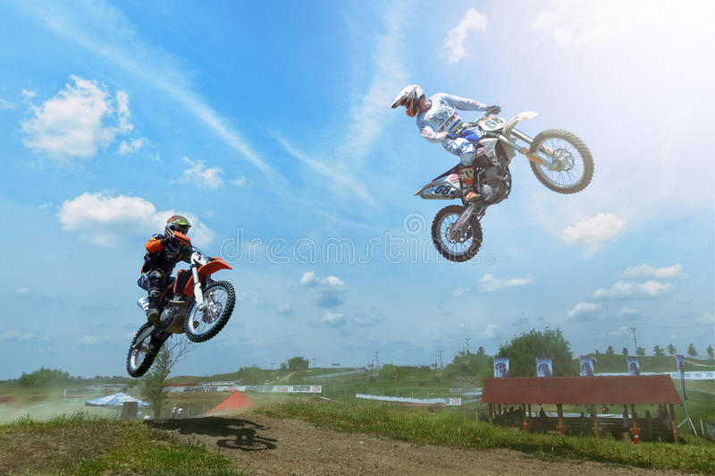 Riders participates at the third of the National Endurocross Championship. Unknown riders participates at the third of the National Endurocross Championship, May royalty free stock photo